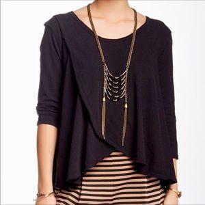 Free People black 3/4 sleeves blouse